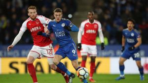 Vardy derby: Jamie Vardy, who joined Leicester from Fleetwood, battles for possession against Cian Bolger