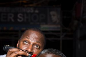 Cyril Nri and Abdul Salis in <i>Barber Shop Chronicles</i>, showing at the Seymour Centre as part of the Sydney Festival.