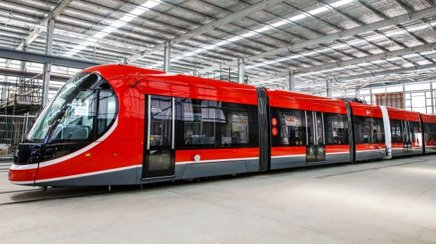 Canberra's first light rail vehicle at its depot in Mitchell. Could an east-west light rail link help solve congestion ...