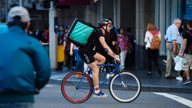 Bicycle food delivery in the Sydney CBD.