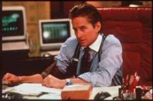 Money, money, money: Michael Douglas as the very wealthy Gordon Gekko in Wall Street.