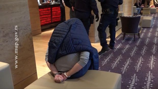 One of the men arrested by Serbian police.