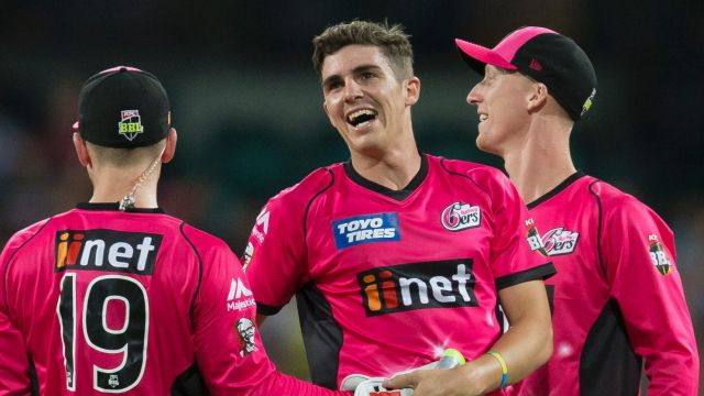 On fire: Sean Abbott claimed four wickets as the Sixers smashed the Brisbane Heat.