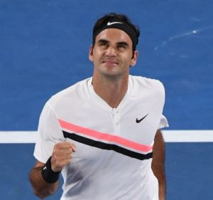 Looking up: Defending Australian Open champion issued an ominous warning to rivals after subduing hard-hitting German ...