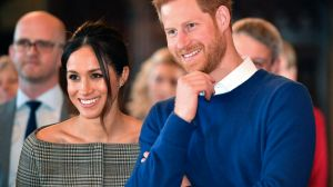 Britain's Prince Harry and Meghan Markle watch a performance at Cardiff Castle in Cardiff, Wales, on Thursday, Jan. 18, ...