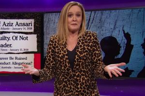 Samantha Bee has a message to the Aziz Ansaris of the world: If you say you're a feminist, act like a feminist.