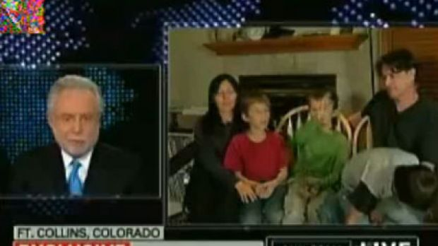 'We did this for the show' ... Richard Heene (bottom right, with his son Falcon) tells CNN's Wolf Blitzer (top) that he ...