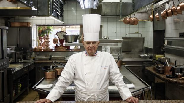 French Chef Paul Bocuse in 2011 at his famed Michelin three-star restaurant L'Auberge du Pont de Collonges in ...