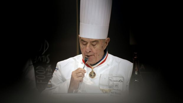 """Paul Bocuse tastes a dish during the """"Bocuse d'Or"""" (Golden Bocuse) trophy, at the 14th World Cuisine contest, in Lyon, ..."""