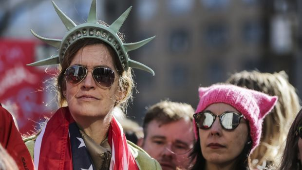 A demonstrator wears a Statue of Liberty crown at the Women's March on New York last weekend.
