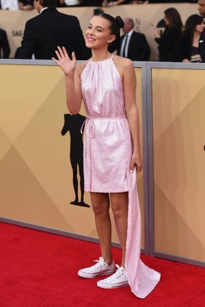 Millie Bobby Brown's unconventional footwear wins the SAGs red carpet