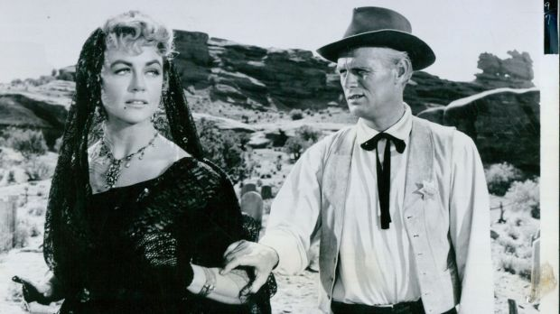 Dorothy Malone and Richard Widmark in <i>Warlock</i>, 1959.