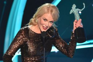 Nicole Kidman accepts the award for outstanding performance by a female actor in a television movie or limited series ...