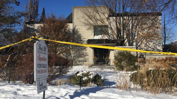 This photo from January 6 shows police crime scene tape marking off the property belonging to the couple.