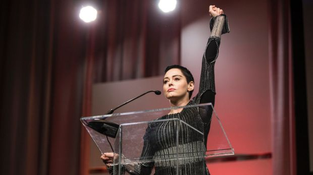 Rose McGowan speaks at The Women's Convention in Detroit last year.