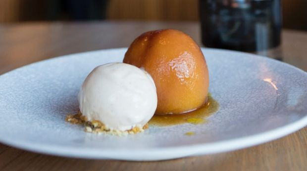 Roasted nectarine, thyme, olive oil and vanilla ice-cream.