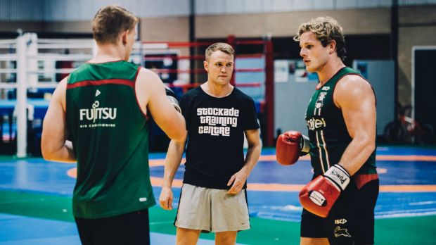 Canberra boxer Dave Toussaint is doing a boxing session with South Sydney Rabbitohs players at the AIS. Dave Toussaint ...