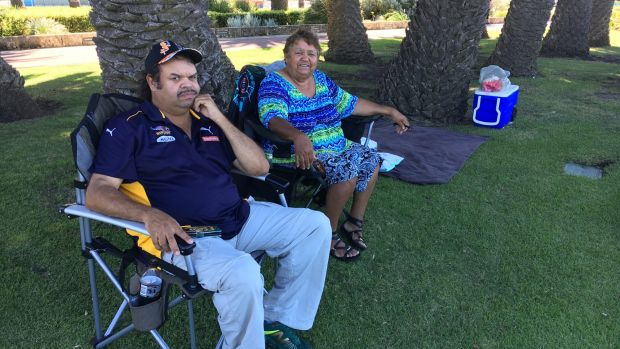 Doreen Nelson - with son, Grant - hasn't missed an Australia Day celebration for 30 years.
