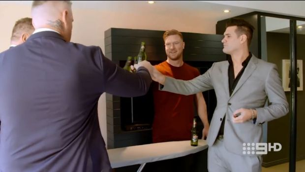 Dean (centre) prepares to get married with best friend Liam (far right) by his side on Married At First Sight.