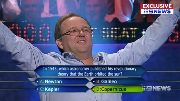 A screen shot of Nicholas Southall appearing on <I>Millionaire Hot Seat</I>.