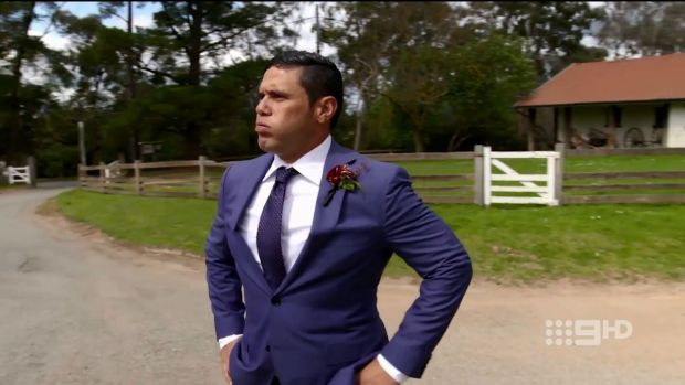 Sarah's nervous groom Telv is the first Aboriginal man to star on Married At First Sight.
