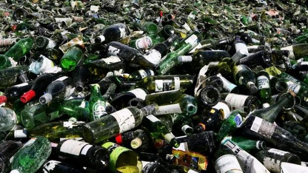 Wine bottles and other glass bottles set to be recycled at the Visy plant in Broadmeadows.