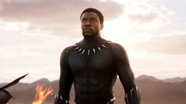 Chadwick Boseman in a scene from Black Panther,.