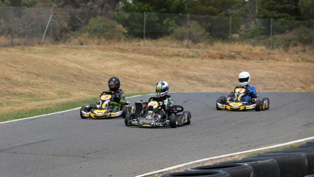 Kart racers using Circuit Mark Webber on Wednesday. Minister Mick Gentleman discussing the plans with members of the ...