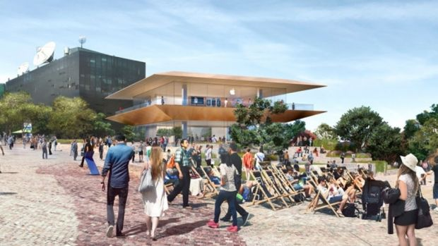 An artist's impression of the planned two-storey Apple flagship shop.