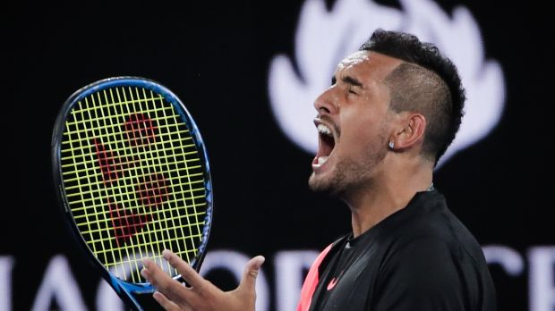 Nick Kyrgios in action at the Australian Open in January. Nine recently won the rights to the competition from Seven.