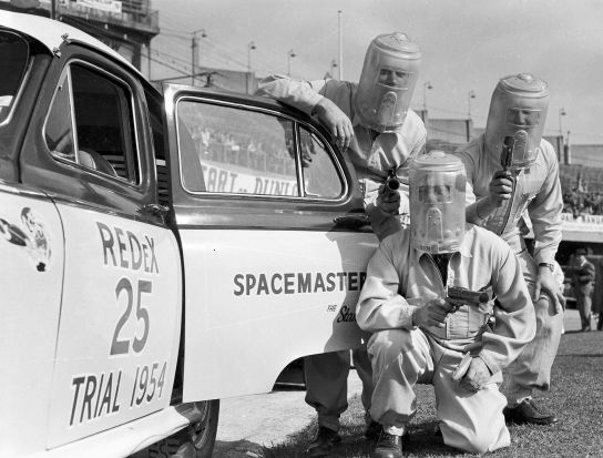 Out of this world. The Spacemaster team gear up for the start at the Sydney Showground in 1954.