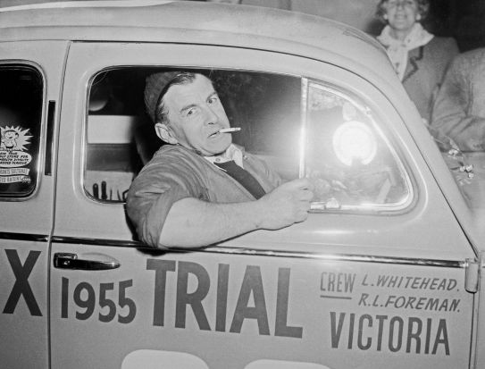 Victorian driver Laurie Whitehead in his Volkswagen in 1955.