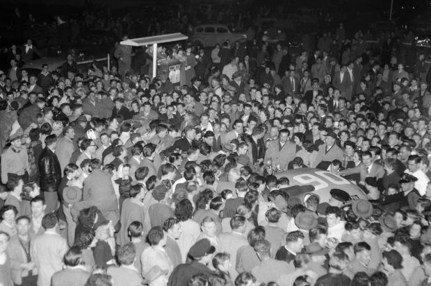 Teams got the rock star treatment on arrival in Melbourne in 1955.
