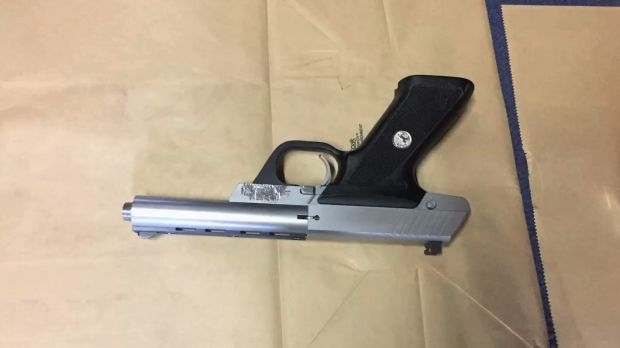 Confiscated: A .22 calibre pistol police seized from inside the North Wollongong warehouse.