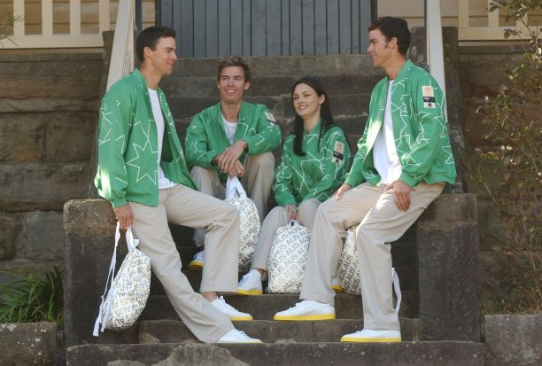 Australian Olympic rowing team members showing off the uniform.