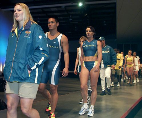 Athletes model the Australian competition uniform for the Sydney 2000 Olympics.