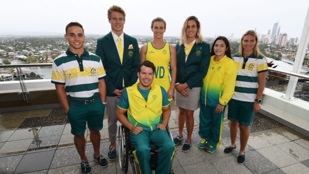 Athletes (left to right) Dom Bedggood (diving), Matt Hauser (triathlon), Nic Beveridge (para-triathlon), Gabi Simpson ...
