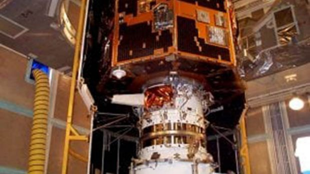 The IMAGE satellite undergoes launch preparations in early 2000.