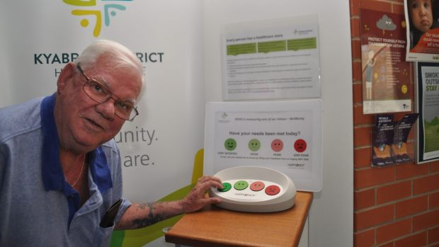Brian Geoffrey rates Kyabram and District Health Services using a HappyOrNot terminal.