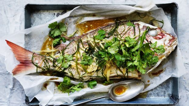 Served whole, the steamed fish represents family and prosperity.