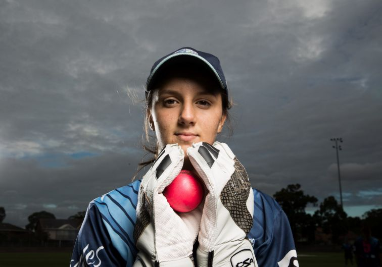 Molly Godsell from the Parramatta Under 15s Division 1 Cricket Team at training in Sydney.