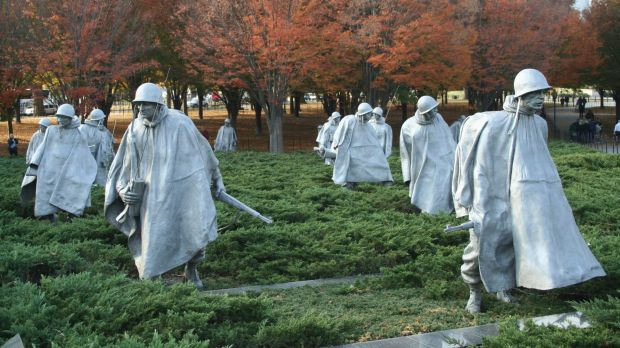 Statues of US soldiers, part of the Korean War memorial on Washington's Mall.