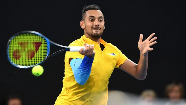 Cool head: Nick Kyrgios easily won his singles rubber on Friday.