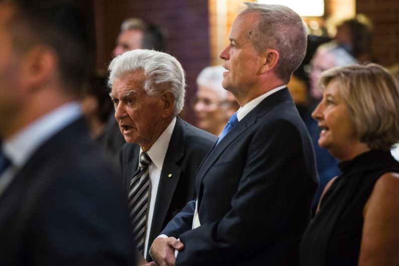 Former Prime Minister Bob Hawke sits with Opposition leader Bill Shorten at the State Memorial Service for the Honorable ...