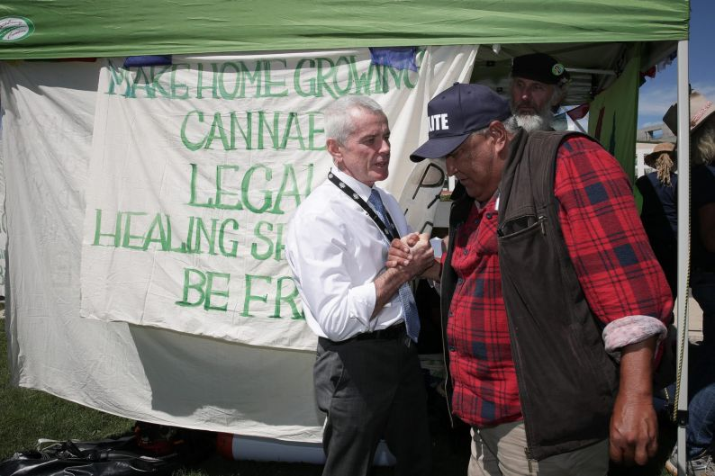 Former One Nation Senator Malcolm Roberts attends a pro-medicinal cannabis rally on the front lawn of Parliament House ...