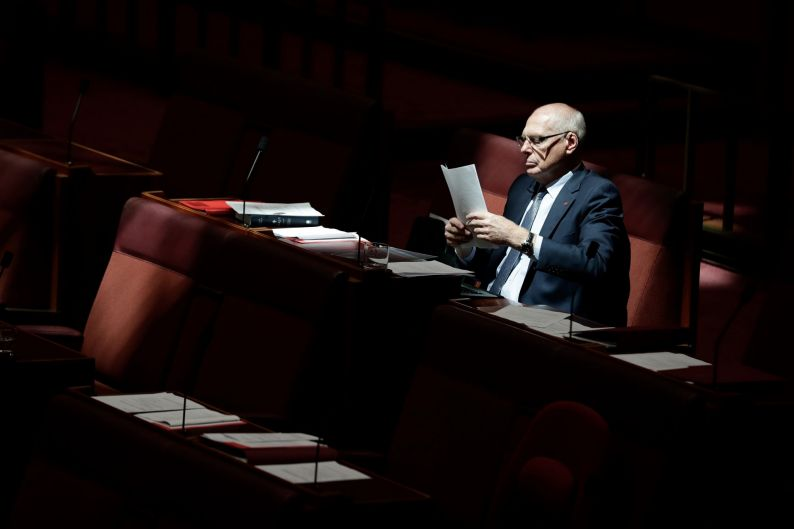 Senator Jim Molan in the Senate at Parliament House in Canberra.