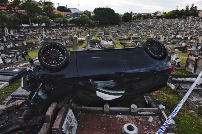 A car has ploughed through a wall in Randwick Cemetery on early in the morning on Tuesday, February 6 2018.