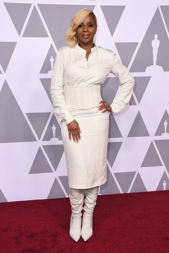 Mary J. Blige arrives at the 90th Academy Awards Nominees Luncheon at The Beverly Hilton hotel on Monday, Feb. 5, 2018.