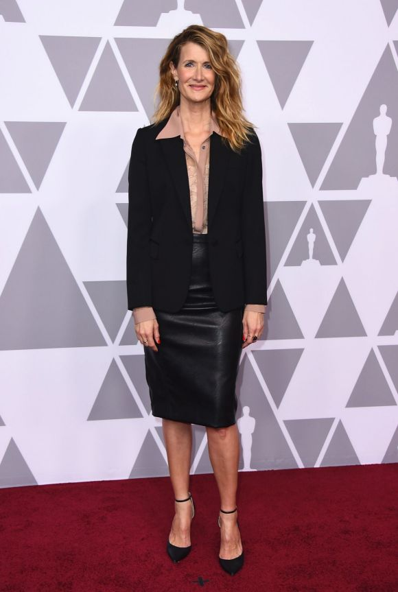 Laura Dern arrives at the 90th Academy Awards Nominees Luncheon at The Beverly Hilton hotel on Monday, Feb. 5, 2018.