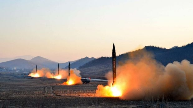 Four extended range Scud missiles lift off from their mobile launchers in North Pyongan Province, North Korea.